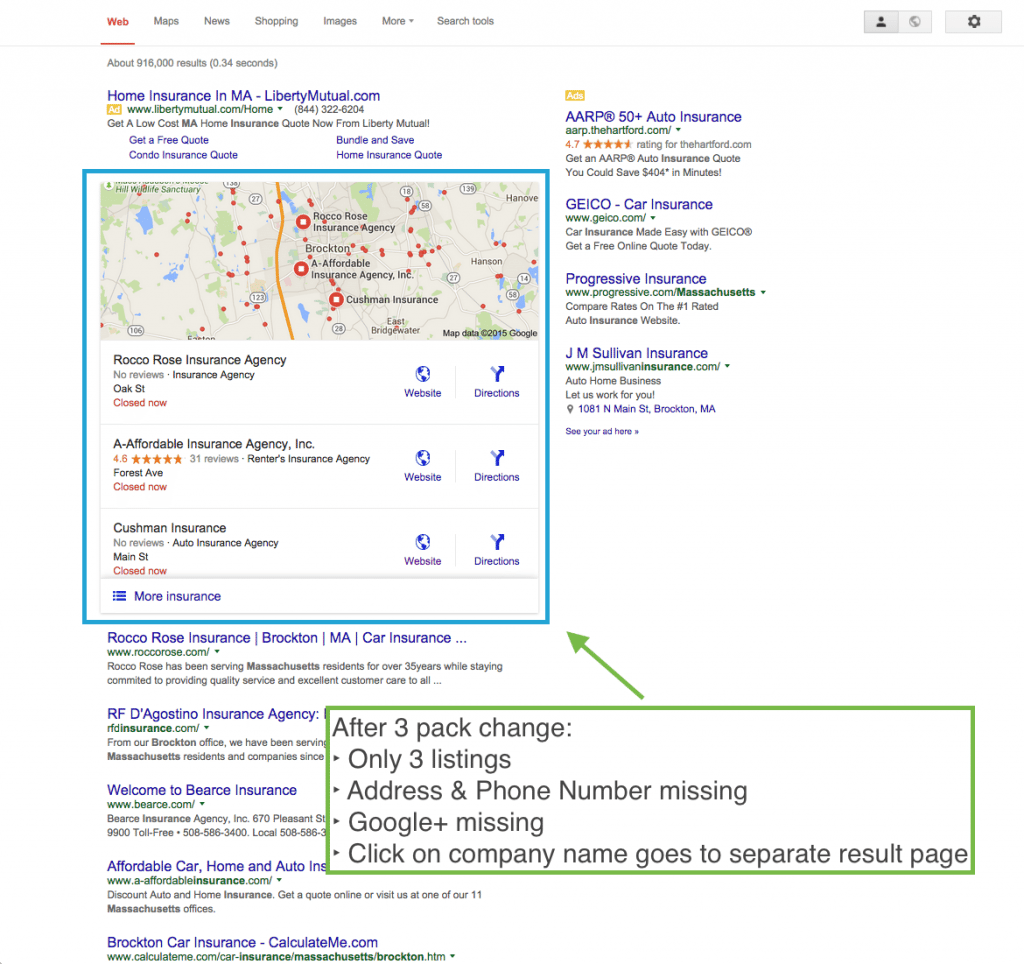 """Google search results after """"snack pack"""" update - impacts local small businesses in a big way"""